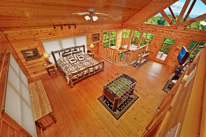 View of Spacious King Bedroom From Loft - Adventure Lodge