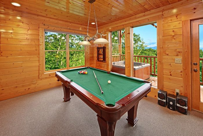 Pool Table in Cabin - Adventure Lodge