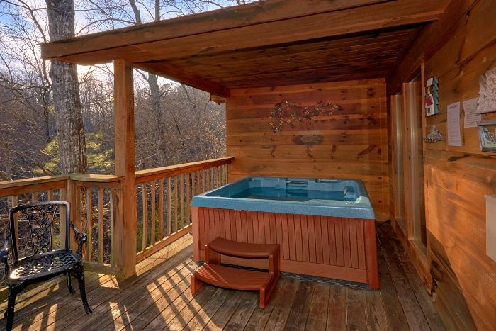 Private Hot Tub on back deck at Honeymoon Cabin - I Don't Want 2 Leave