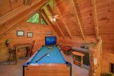 Pool Table in Loft of Gatlinburg Cabin