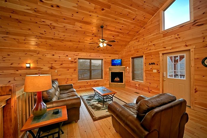 Cabin with fireplace in Living area - Snuggled Inn