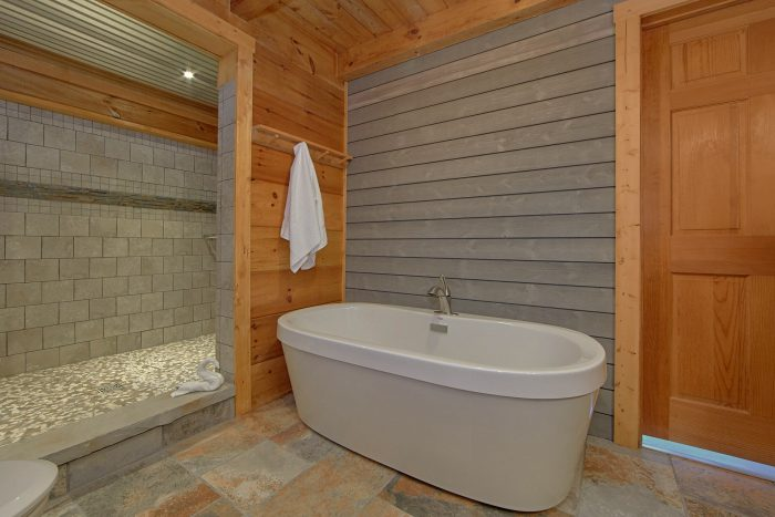 1 Bedroom Cabin Sleeps 4 Master Bath Room - The Overlook